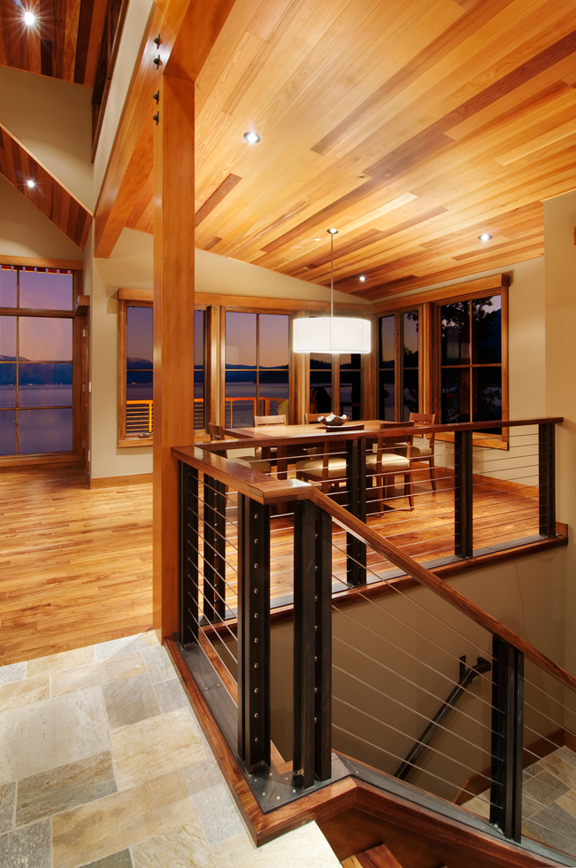 Lake Tahoe, San Francisco Interior Design, Interior Architecture, Cabin, modern cabin, contemporary kitchen, wood ceiling, open living, grand room, open loft, loft, Iron Staircase,