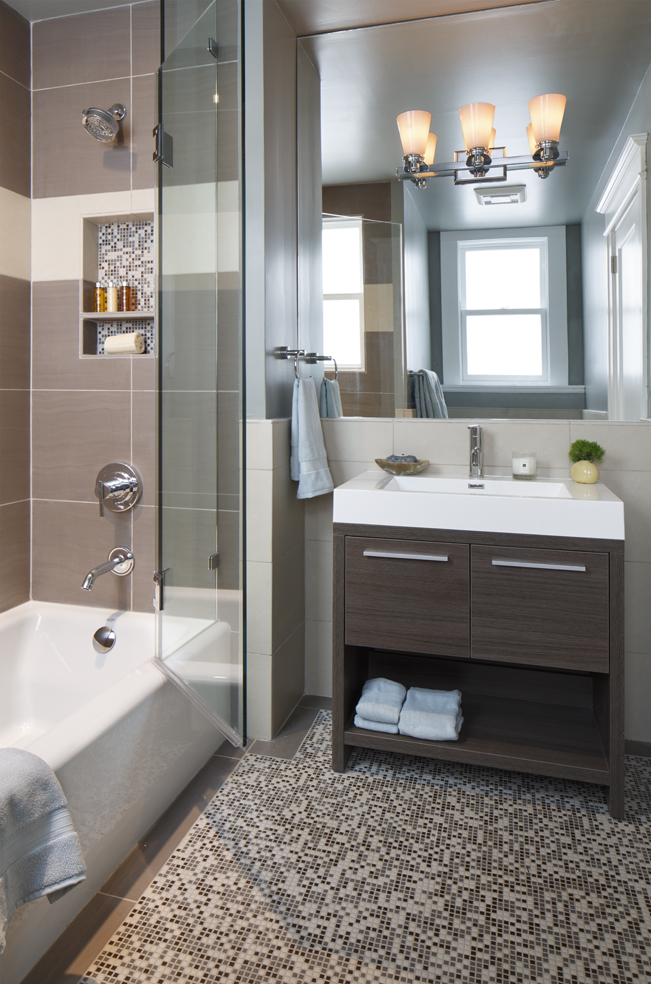 Cole Valley, Cole St., San Francisco Interior Design, Interior Architecture, contemporary bathroom, Guest bathroom, modern vanity, contemporary vanity, powder room, mosaic tile pattern, glass shower door, mirror wall