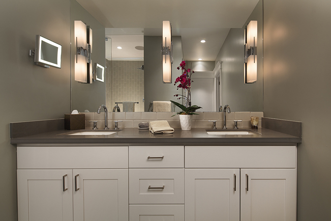Cole Valley, Cole St., San Francisco Interior Design, Interior Architecture, contemporary kitchen, Master Bathroom, white cabinetry, 3 lihgts, mirror wall, make-up mirror, spa feel, spa like, grey counter top, caesarstone, quartz