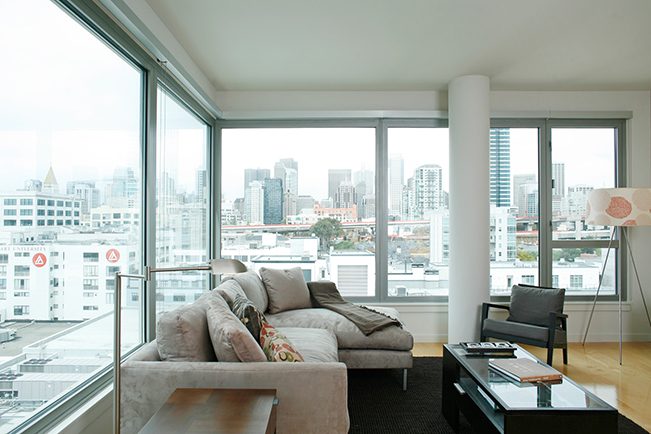 Brannan Street, San Francisco, living room, window view Interior Design, Highrise, high-rise, High Rise, loft, open living