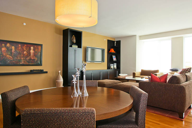 Dining room, Casual, Custom Built in, built-in, contemporary living room, modern materials,
