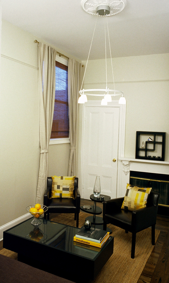 Living Room, Entry, yellow accent, san francsico interior design, coffee table, light fixture, side chairs
